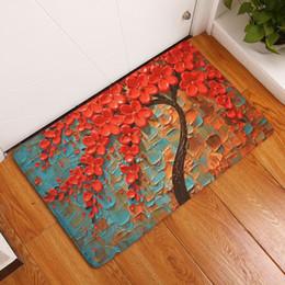 Painted Floor Mats Canada - oil painting trees doormat printed velvet bathroom carpet non slip indoor kitchen mat decorative entrance floor rugs