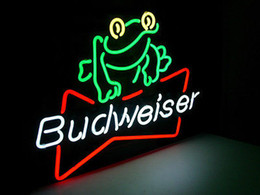 "Blue Frog Glasses Canada - Budwiser Frog Neon Sign Handmade Custom Real Glass Tube Beer Bar KTV Club Pub Motel Advertisement Display Neon Signs 24""X20"""