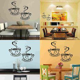 China Mayitr Coffee Cups Cafe Tea Wall Stickers Beautiful Art Vinyl Decal Kitchen Restaurant Pub Decor New suppliers
