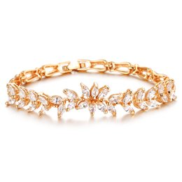 wheat chain filled UK - Fashion Gold Plated Women Bracelets New Trendy Wheat Design Link Chain Cubic Zircon Jewelry AAS443
