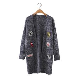 $enCountryForm.capitalKeyWord NZ - Women cute pattern patch long cardigan long sleeve warm open stitch autumn winter female streetwear elastic knitted tops SW1042