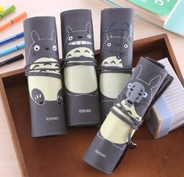 $enCountryForm.capitalKeyWord NZ - Roll Up PU Leather Pen Pencil Case Bags Totoro pencil case Kid Party Gift Favor Make up Cosmetic Bag