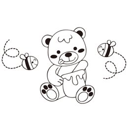 Stickers For Walls Kids NZ - 9170 Cute Lovely Bear Wall Sticker For Nursery Kids Wall Art Animals Fishes Decal Free Shipping