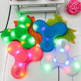 Bluetooth Toys Australia - New Led Bluetooth Music Fidget Nef Spinner Finger HandSpinner EDC Hand Tri Spinner HandSpinner EDC Plastic Decompression Toy Gifts HH-T01