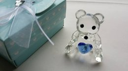 Boy Figurines Canada - (100pcs lot)Baby Shower Favors Choice Crystal Collection Teddy Bear Figurines -Blue For Baby Boy Baptism Gift+FREE SHIPPING