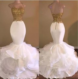 tops straps Canada - Sexy Gold Top And White Ruffles Lace Mermaid Prom Dresses 2019 Spaghetti-Strap Sleeveless Backless Evening Gowns With Beaded Crystal BA4925