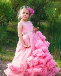 Flower Girl Kids Frock Canada - Hot Pink Clouds Flower Girls Dresses for Weddings Frocks Luxury Girls Pageant Dress Kids Prom Dresses Evening Gowns 2017