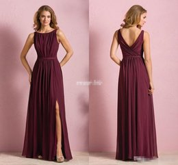 Elegant Cheap Wine Red Chiffon Long Beach Bridesmaid Dresses 2016 Wedding Party Dress For Women Maid Of Honor With Split Jewel Neck