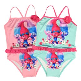 Maillot De Bain Une Pièce Pour Les Enfants Pas Cher-2 couleurs Baby Girls Summer Swimwear Kids One Piece Cartoon Swimsuit Trolls Enfants Maillot de bain pour enfants Maillot de bain pour fille NC080