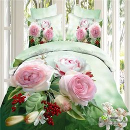 $enCountryForm.capitalKeyWord Canada - 100 cotton Cool egyptian Beauty 4 Pcs Beautiful Rose Blue Green Bedding Sets Queen Full Goose Duvet Cover Flat sheet And PillowCases