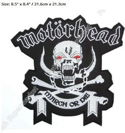 "Wholesale Embroidered Jackets Canada - 8.5"" XL LARGE MOTORHEAD England Marh or DIE Patch Biker Vest Jacket Back Music Band EMBROIDERED Iron On rockabilly LOGO"