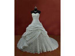 $enCountryForm.capitalKeyWord UK - Dropped Waist Sweetheart Ball Gown Corset Back Taffeta COR-389 Appliques Beading Pleat Ruched Bridal Wedding Dresses