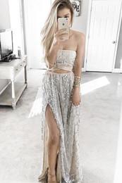 $enCountryForm.capitalKeyWord NZ - Two Piece Lace Sexy 2017 Beach Long Prom Dress Strapless sleeveless Floor-length Chiffon Side Split Crystal Beading custom made Evening gown