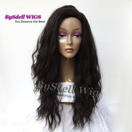 beach wave hair Canada - Premium Natural Looking Brazilian Water Beach Curly Hair Wig Synthetic Long Black Kinky Wave Hair Free Part Wigs for Black Women