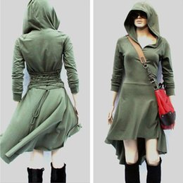 Barato Longo Dia Vestido Xl-2017 Cosplay Grey Long-Sleeves Causal Women's Day Vestidos Hoodies High Low Ladies ajustável Lace Up Back Trench Coat Sweatshirt