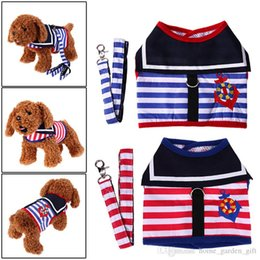 $enCountryForm.capitalKeyWord NZ - Strip Small Pet Cat Dog Puppy Harness Vest And Leash Cute Animal Dog Collars Leads Dog Sailor Costume Navy Style clothes