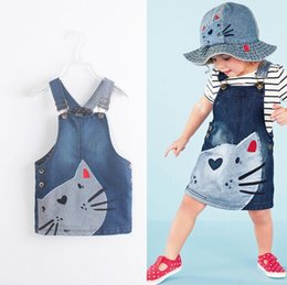 lemon print dresses Canada - 2017 Girls cute cat face print Denim strap Dress infants kids solid color animal printing dress