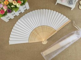 fold hand bag Australia - Free shipping Wholesale 50pcs lot High quality White Elegant Folding Paper Hand Fan with Organza Gift bag Wedding Gift