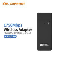 Comfast Wifi Usb Adapter Canada - Wholesale- Comfast CF-917AC 1750Mbps Dual Band 11AC Wireless N 2.4G+5.8G USB wi-fi WiFi Adapter 802.11ac a b g n Networking Transmiter