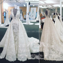 $enCountryForm.capitalKeyWord Australia - Luxury 2017 Arabic A Line Wedding Dresses With Overskirt Train Full Lace Plus Size Covered Buttons Bridal Wedding Gowns For Chuch