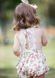 Baby Girl Cute Bodysuits Pas Cher-2017 Ins Baby Girl Print Rose Flower Rompers Cute Floral Lace Jumpsuits + Headband Belt Two Piece Sets Infant Toddler Soft Cotton Bodysuits