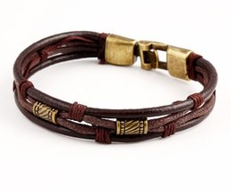 Chinese  Hot!!!Multi layered Leather Bracelet explosion models men and women jewelry wholesale supply Free Shipping Cheap Price manufacturers