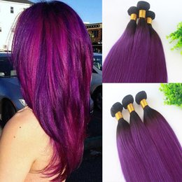 $enCountryForm.capitalKeyWord NZ - 3Bundles Human Hair Weave Extensions Straight Ombre 1B Purple Two Tone Color Human Remy Hair Extensions