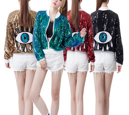 Barato Desempenho Do Vestido De Dança-Moda Ladies Big Eyes Sequin Cardigan Casaco de beisebol de manga comprida Dance Lacquered Team Dress DS Performance Zipper Short Outerwear