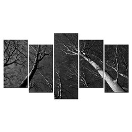 Tree Scenery Paintings UK - Tall Trees Giclee Painting Decorative Canvas Artwork for Home and Office Nature Scenery Canvas Prints 5 Panels
