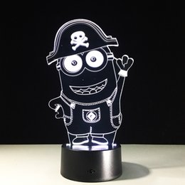 minions night lamp UK - 2017 Minions 3D Illusion Night Lamp 3D Optical Lamp Battery DC 5V Wholesale Free Shipping