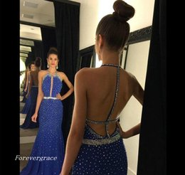 Robe De Sirène Perlée Pas Cher-2017 Long Blue Mermaid Prom Dress Luxe Halter Beaded Formal Holidays Wear Graduation Evening Party Pageant Gown Custom Made Plus Size