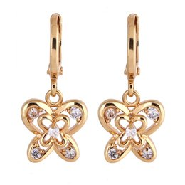 Chinese  New Vintage Earrings Gold Crystal CZ Butterfly Hoop Earrings for Women Girls Christmas Gift Fashion Wedding Diamond Jewelry manufacturers