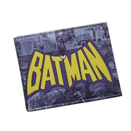 Dc Cómicos Batman Baratos-Batman Series Cartoon Wallet The Avengers Super Hero Batman Wallet para Teen Boy Girls Bolso monedero de cuero DC Comics Wallet