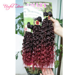 $enCountryForm.capitalKeyWord NZ - Kinky curly ombre brown Sew in hair extensions 6pcs lot synthetic weft hair ombre brown,purple synthetic braiding crochet hair extensions