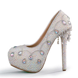 Colorful Rhinestone Bridal Wedding Shoes White Crystal Bride Wedding  Ceremony Formal Dress Shoes High Heel Party Prom Pumps d705b913ea91