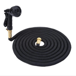 Discount expandable water hose - 50FT Expandable Garden Watering Hose Flexible Pipe With Spray Nozzle Metal Connector Washing Car Pet Bath Hoses