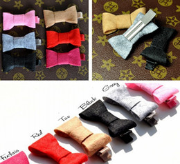China 2inch 6colors Newborn Lovely INS Infant Felt Bow With Ribbon Clip Fashion Solid Fabric Head Bows For Baby Girls Children Hair Accessories suppliers