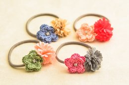 $enCountryForm.capitalKeyWord Canada - Boutique 20pcs Cute Solid Crochet Flower Girls Elastic Hair Bands Fashion Knitting Rope Gum Rubber BandBaby Girls HairAccessories