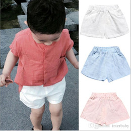 $enCountryForm.capitalKeyWord NZ - Kids Clothing Baby Cotton Linen Shorts Infant Summer Hot Pants Kids Solid Fashion Pants Girls Casual Cropped Trousers Baby Kid Clothes B2384