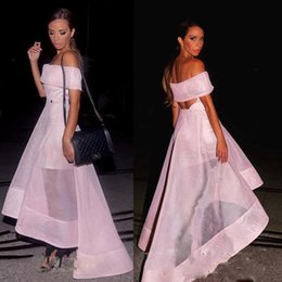 Soft cocktailS online shopping - Soft Pink Off Shoulder Prom Dresses Sexy See Through High Low Evening Gowns Hollow Back Organza Cocktail Party Dress Simple Formal Wear