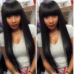 Black long straight Bangs human wigs online shopping - Straight Full Wig Simulation Human Hair Full Wigs Long Silky Straight Wigs With Full Bangs
