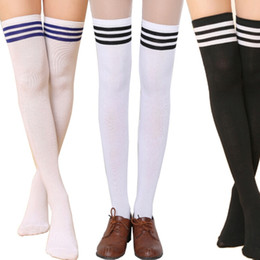 knee high stocking striped 2019 - Wholesale-New Sexy Girl Thigh High Cotton Socks Women\'s Striped Over Knee Girl Lady Stocks discount knee high stoc