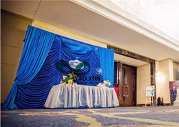 waves backdrop 2020 - 3m*3m Royal Blue Color Wave Shape Wedding Backdrop Curtain With Drape Swag