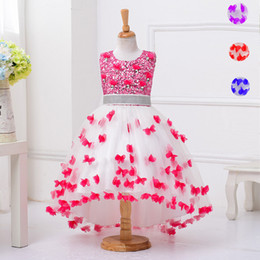 $enCountryForm.capitalKeyWord Canada - High Low Flower Girl Dress Sequins Trailing Butterfly Wedding Gown Kids Party Prom Children Dress