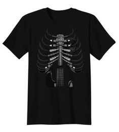 skeleton guitars 2019 - Fashion Guitar Skeleton Microphone Rock Music Lovers Short Sleeved 2017 Summer Funny T Shirts Print Tee