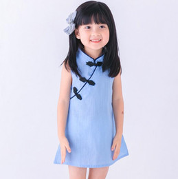 Robe En Cheongsam Sans Manches Pas Cher-2017 Baby Girls Cheongsam Robes Enfants Summer Cotton Short Skirt Beach Robe sans manches Princess Tutu Jupes Livraison gratuite