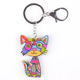 Fashion Jewelry Key Ring Canada - Cat Keychain Key Ring New 2017 Acrylic Pattern Cute Animal Fashion Jewelry For Women Car Key Holder Accessories