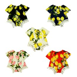 Wholesale Lemon Baby Clothes Short Sleeve Summer Girls Bodysuit New Patterm Lace Trim Girls Boutique Clothing Cotton tassel Kids Clothes