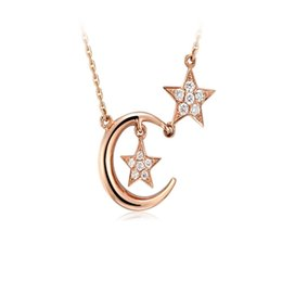 $enCountryForm.capitalKeyWord NZ - Jewelry Trends 925 Sterling Silver Star & Moon Crystals Pendant Necklace Valentine's Day Gift for Girls Women with Gift Box