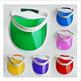 30pcs / lot Neon Sun Visor Peak Cap Transparente plástico Sunvisor Partido Festival Hat Fancy Dress Poker Headband